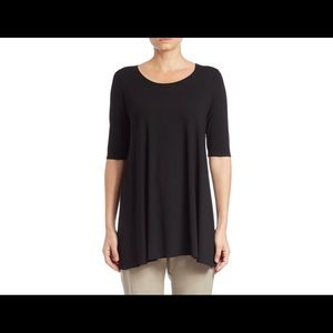 Eileen Fisher Scoop Neck Tunic Top M, Charcoal